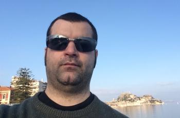 Mr. Kastamonitis at the old fortress of Corfu